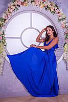 Красивое синее длинное платье на бретелях (S)