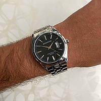 Мужские часы металлические Kingnuos с датой серебристые с черным