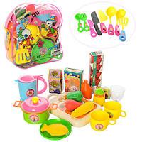 """Детский игровой Набор посуды в рюкзаке 9953 (досточка, нож, коробочки для """"сыпучих продуктов"""", овощи ( фрукты)"""
