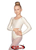 Купальник детский для танцев, молочный GM030133 (бифлекс, р-р 1-M, рост 98-134см)