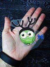 Термо наклейка, трансфер, наклейка на одежду Новогодняя Сова олень, 8х8 см, фото 2