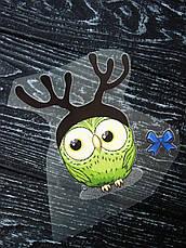 Термо наклейка, трансфер, наклейка на одежду Новогодняя Сова олень, 8х8 см, фото 3