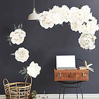 3D интерьерные виниловые наклейки на стены Пионы - цветы  60-40 см  № 14 в детскую .Обои
