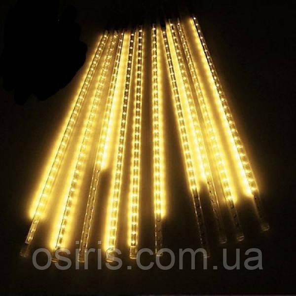 Светодиодная гирлянда Тающие сосульки / Метеоритный дождь длина 3,5 м Белая теплая 192 Led лампы электрическая