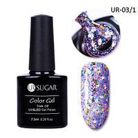 Гель-лак для ногтей маникюра 7.5мл UR Sugar, UR-03/1 с блестками