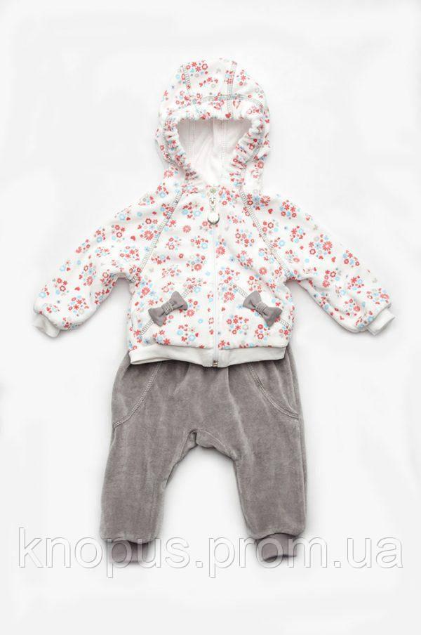 Костюм велюровый на хлопковой подкладке для девочки, Модный карапуз, размеры 68-86