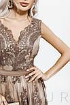 Вечернее кружевное платье с асимметрией бежевое, фото 2