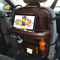 Органайзер со столиком на спинку сиденья в автомобиль, Коричневый