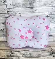 """Ортопедическая подушка для новорожденных """"розовые звёздочки"""" с плюшем минки"""