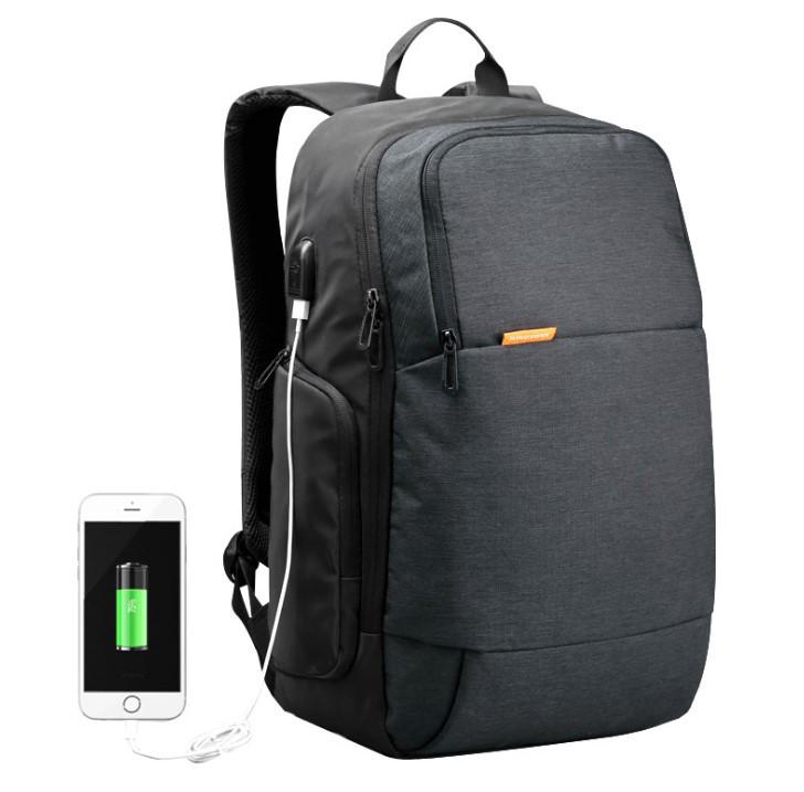 """Рюкзак городской Kingsons KS3143w 15.6""""  USB-разъем влагостойкий темно серый 30 л"""
