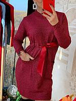 Платье-гольф женское, стильное, теплое, цвет красный, 211-0868-2, фото 1