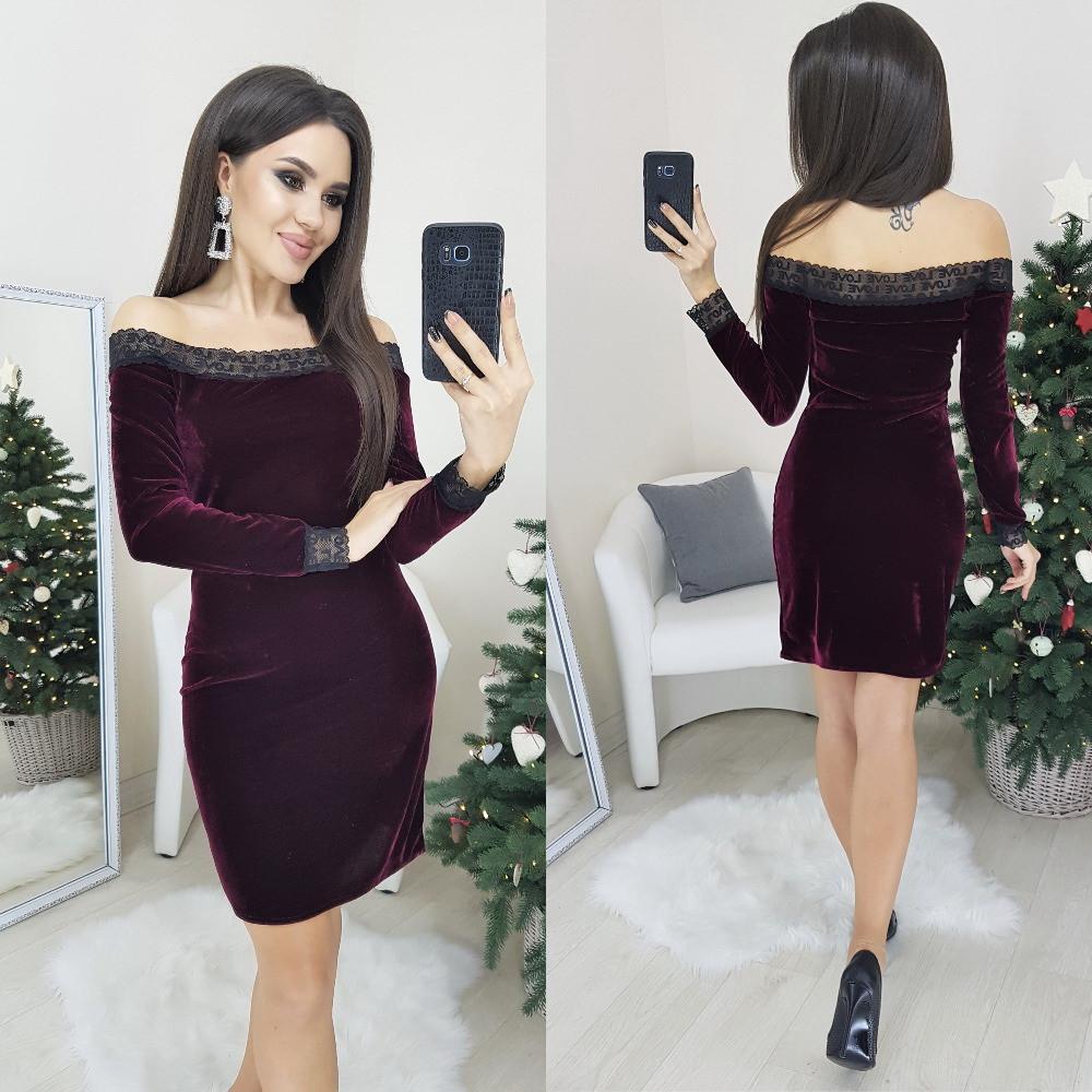 Женское нарядное платье из бархата