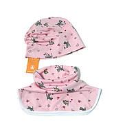 Трикотажная шапочка и шарф 48 см. Розовый