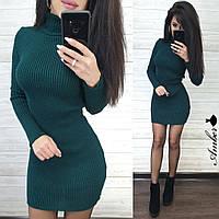 Платье-гольф женское, стильное, теплое, цвет зеленый, 1113-456-5