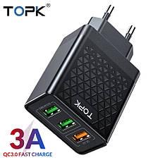 Оригінальне мережевий зарядний пристрій TOPK B354Q на 3 USB порту Quick Charge 3.0 Black