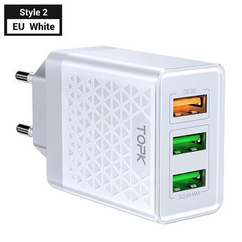 Оригінальне мережевий зарядний пристрій TOPK B354Q на 3 USB порту Quick Charge 3.0 White, фото 2
