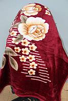 Полуторное акриловое плед-одеяло бордо