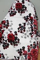 Полуторное акриловое плед-одеяло цветы