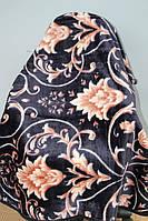 Полуторное акриловое плед-одеяло бежевый цветок