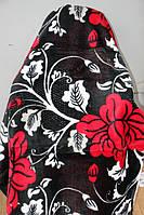 Двуспальное акриловое плед-одеяло красные цветы