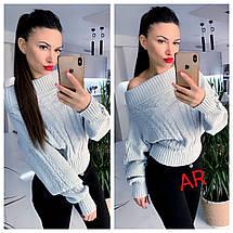 Женский тёплый свитер с открытыми плечами и узором косичка 42-46 р, фото 3