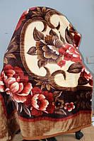 Двуспальное акриловое плед-одеяло коричневое