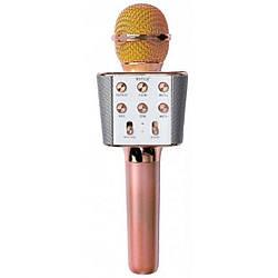 Беспроводной караоке микрофон колонка Bluetooth радиомикрофон Wster WS 1688 Pink gold Розовое золото