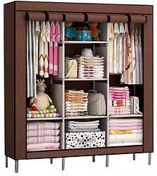 Шкаф тканевый раскладной на три секции 130х45х175 см Storage Wardrobe 88130 Коричневый (par_88130)
