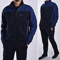Размеры:48,50,52,54/56. Утепленный спортивный костюм Nike (Найк) / Трикотаж трехнитка с начесом - темно синий