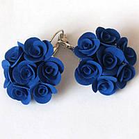 """""""Элегантность""""серьги с синими розами  из полимерной глины. Подарок девушке, фото 1"""