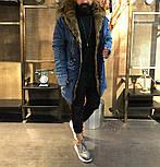 😜 Парка - Мужская зимняя парка с мехом джинсова, фото 7