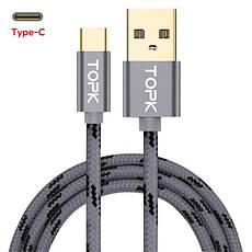 Оригинальный кабель TOPK AN09 Type-C Quick Charge 3A быстрая зарядка 3A Grey (CT0109261610), фото 2