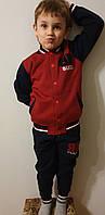 Спортивный костюм теплый на байке для мальчиков 110, 116,122,128,134 роста синий Bucci