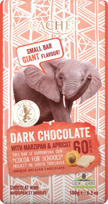 """Шоколад""""Cachet"""" Dark Chocolatewith Marzipan and ApricotTanzania, 60% Cocoa. Бельгия 180 г"""