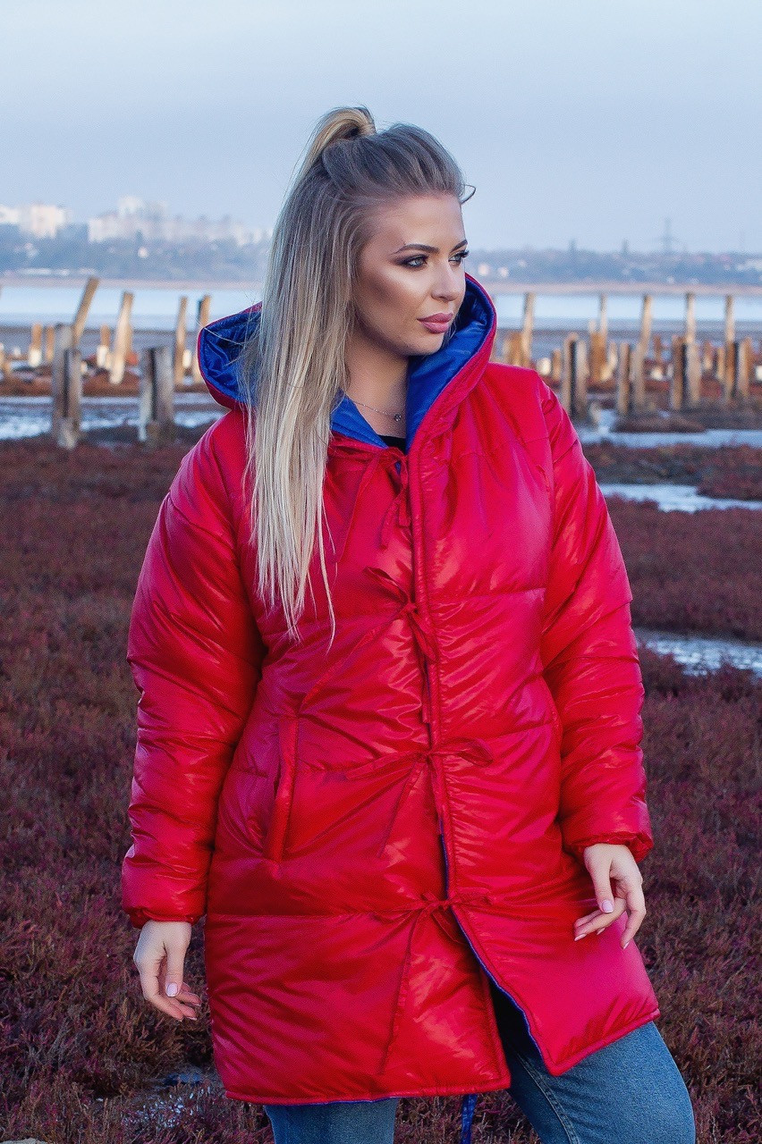Женская зимняя теплая двусторонняя куртка зефирка красный+электрик серебристо+черный 48-50 52-54 56-58