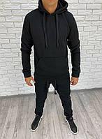 Мужской зимний теплый спортивный костюм с капюшоном трехнитка меланж черный 46 48 50 52