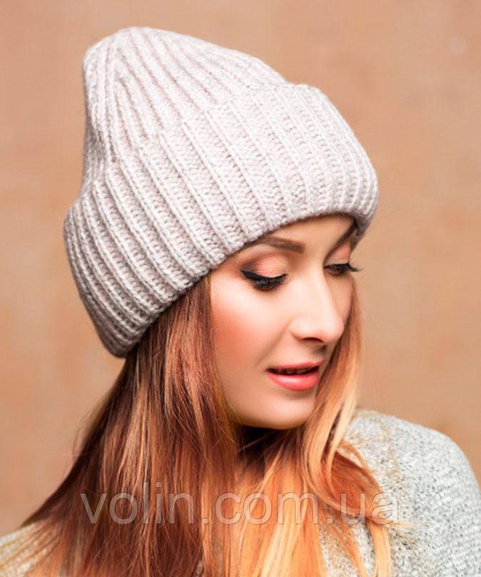Зимняя женская вязаная шапка Монклер.