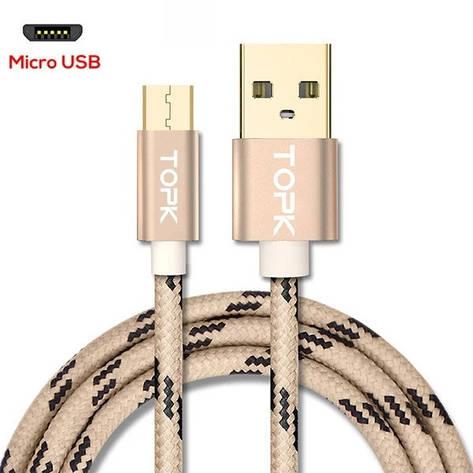 Оригинальный кабель TOPK AN09 Micro-USB Quick Charge 2.4A быстрая зарядка Gold (CT0109110910), фото 2