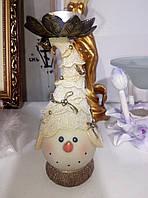 Керамический новогодний подсвечник снеговичек