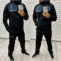 Мужской зимний теплый спортивный костюм с начесом черный + вставки графит 46 48 50 52