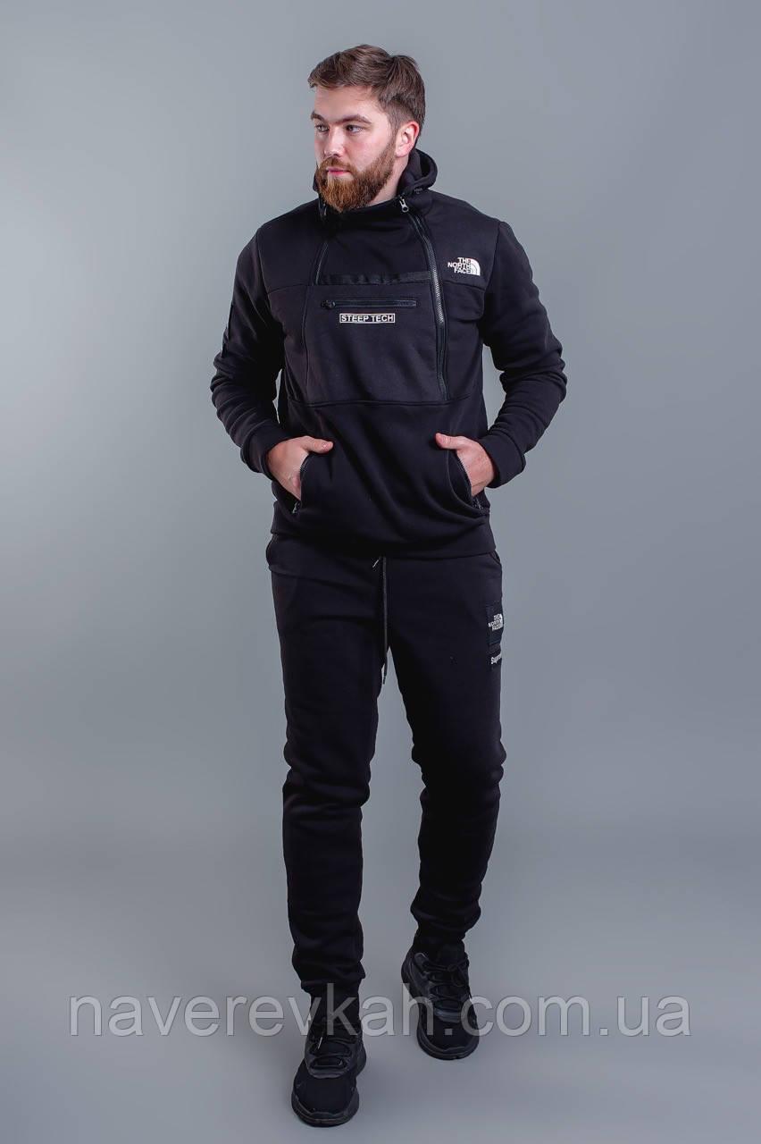 Мужской зимний теплый спортивный костюм с начесом черный черный+хаки 46 48 50 52
