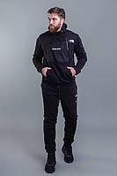 Мужской зимний теплый спортивный костюм с начесом черный черный+хаки 46 48 50 52, фото 1