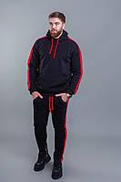 Мужской зимний теплый спортивный костюм с капюшоном графит+черный черный+красный 46 48 50 52