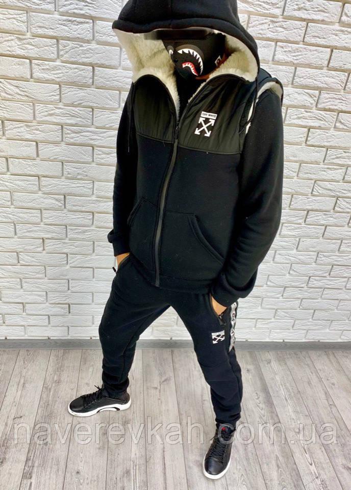 Мужской зимний теплый спортивный костюм тройка трехнитка черный 46 48 50 52