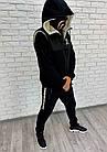 Мужской зимний теплый спортивный костюм тройка трехнитка черный 46 48 50 52, фото 3