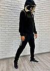 Мужской зимний теплый спортивный костюм тройка трехнитка черный 46 48 50 52, фото 4