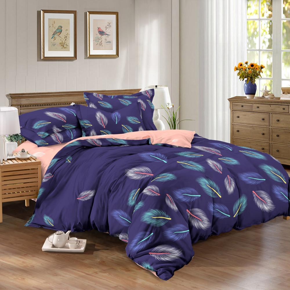 Комплект постельного белья евро на резинке 200*220 хлопок (13098) TM KRISPOL Украина