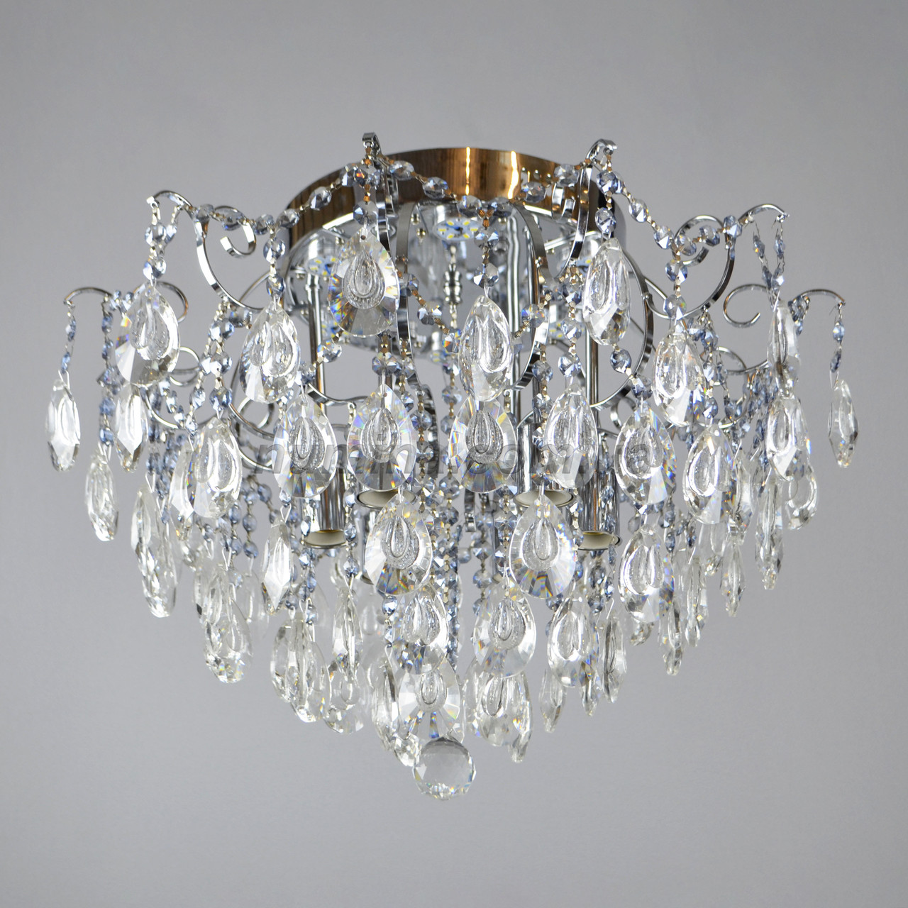 Люстра потолочная хрустальная на шесть ламп 3-E1342/6+6 CR