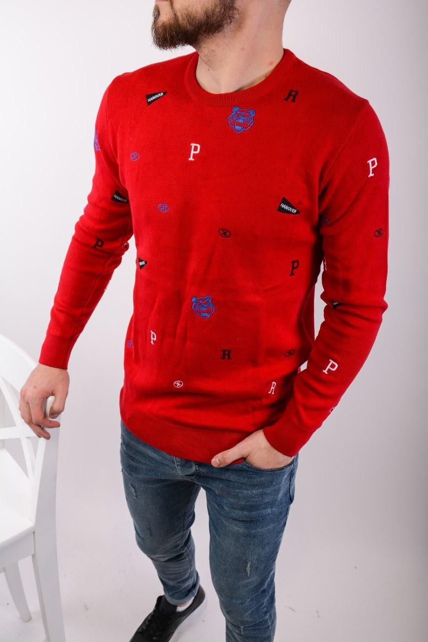 😜 Свитер - Мужской свитер красный с вставками