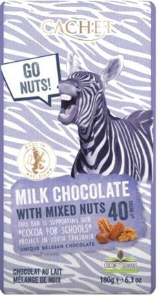 "Шоколад""Cachet"" Milk Chocolate with Mixed Nuts Tanzania, 40% Cocoa. Бельгия 180 г"